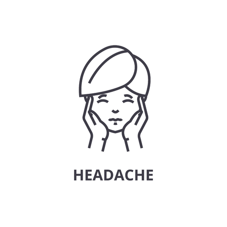 headache thin line icon, sign, symbol, illustation, linear concept vector  Illustration