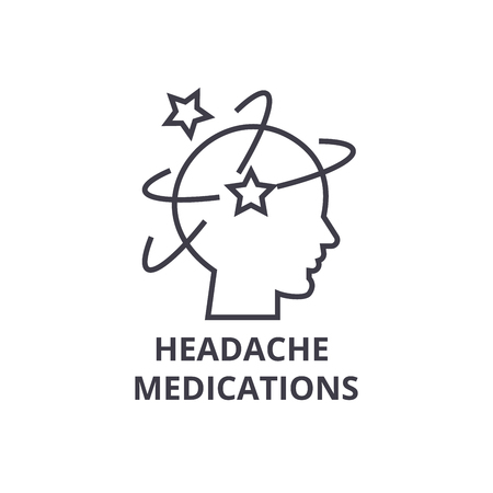 headache medications thin line icon, sign, symbol, illustation, linear concept vector