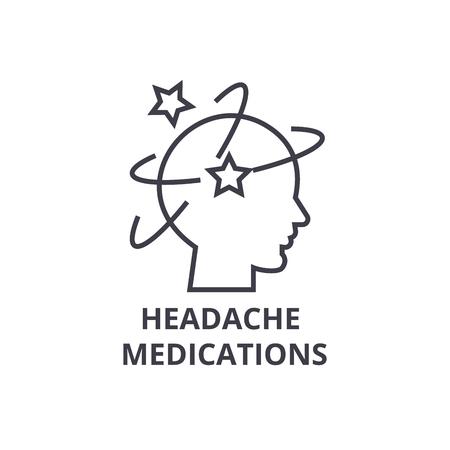 headache medications thin line icon, sign, symbol, illustation, linear concept vector