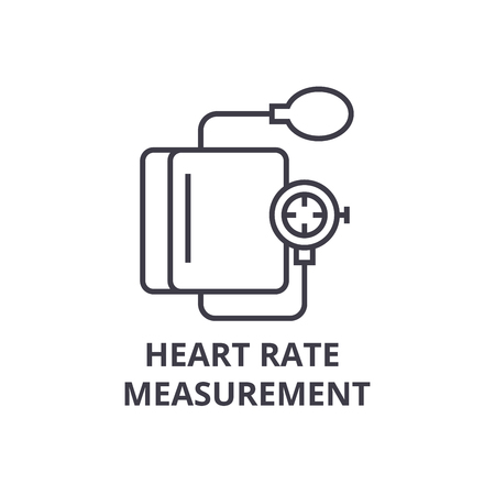 heart rate measurement thin line icon, sign, symbol, illustation, linear concept vector