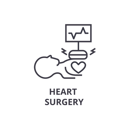 heart surgery thin line icon, sign, symbol, illustation, linear concept vector