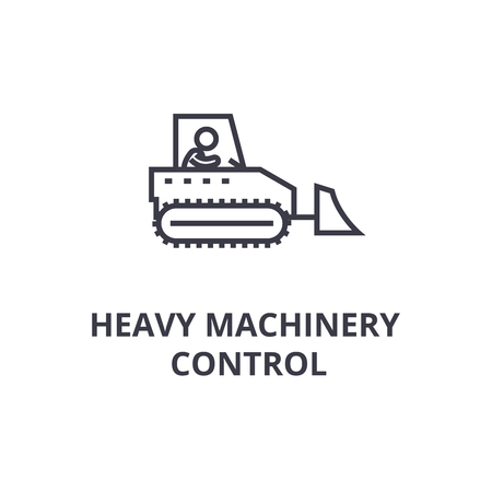 heavy machinery control thin line icon, sign, symbol, illustation, linear concept vector  Illustration
