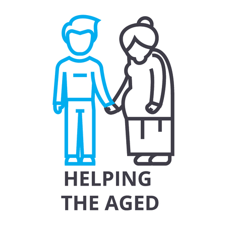 helping the aged thin line icon, sign, symbol, illustation, linear concept vector