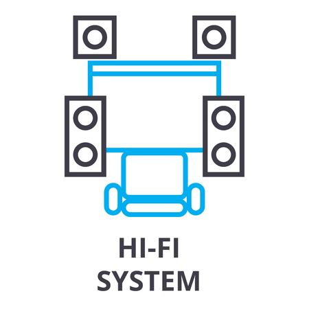 hi fi system thin line icon, sign, symbol, illustation, linear concept vector