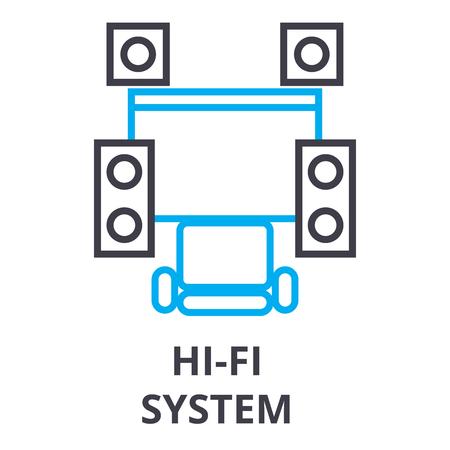 hi fi system thin line icon, sign, symbol, illustation, linear concept vector Фото со стока - 100104350