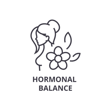 hormonal balance thin line icon, sign, symbol, illustation, linear concept vector