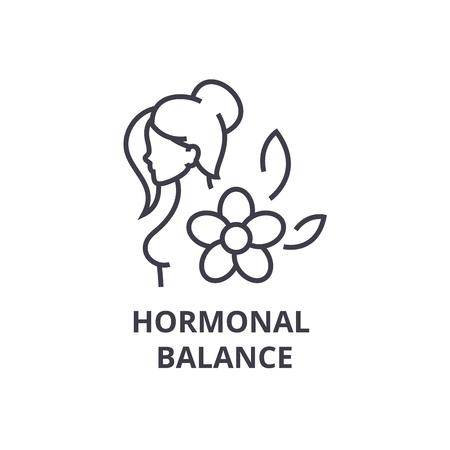 hormonal balance thin line icon, sign, symbol, illustation, linear concept vector