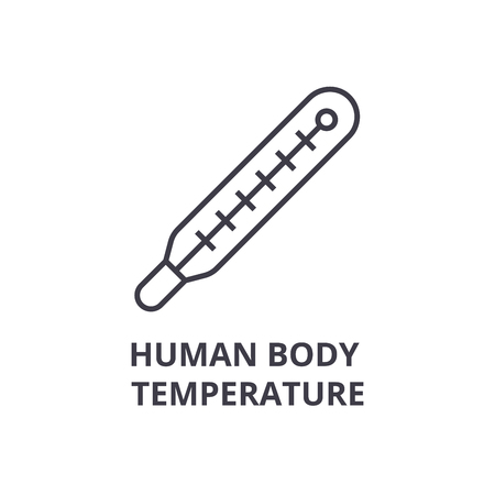human body temperature thin line icon, sign, symbol, illustation, linear concept vector Фото со стока - 100104353
