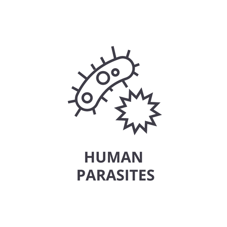 human parasites thin line icon, sign, symbol, illustation, linear concept vector  Illustration