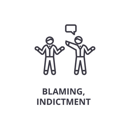 indictment, blaming thin line icon, sign, symbol, illustation, linear concept vector Stock Vector - 100104361