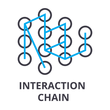 interaction chain thin line icon, sign, symbol, illustation, linear concept vector  Çizim