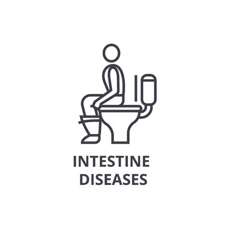 intestine diseases thin line icon, sign, symbol, illustation, linear concept vector