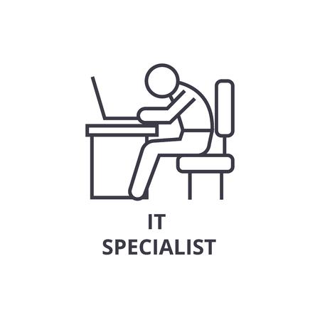 it specialist thin line icon, sign, symbol, illustation, linear concept vector  Illusztráció