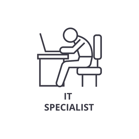 it specialist thin line icon, sign, symbol, illustation, linear concept vector  Illustration