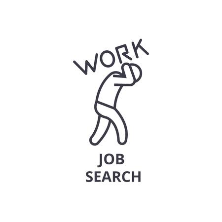 job search thin line icon, sign, symbol, illustation, linear concept vector  Illustration