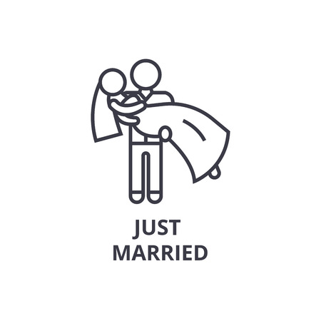 just married thin line icon, sign, symbol, illustation, linear concept vector