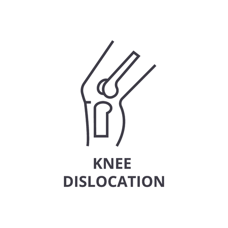 knee dislocation thin line icon, sign, symbol, illustation, linear concept vector  Çizim