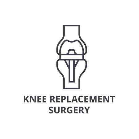 knee replacement surgery  thin line icon, sign, symbol, illustation, linear concept vector Archivio Fotografico - 100104394