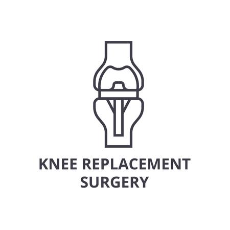 Knieersatzchirurgie dünne Linie Symbol, Zeichen, Symbol, Abbildung, linearer Konzeptvektor