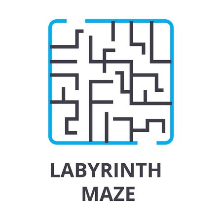 labyrinth maze thin line icon, sign, symbol, illustation, linear concept vector