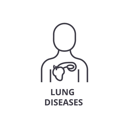 lung diseases thin line icon, sign, symbol, illustation, linear concept vector