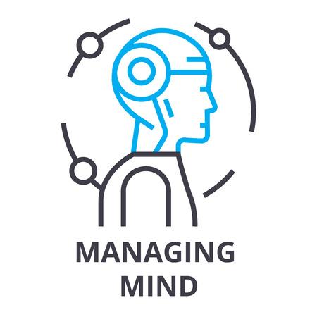 managing mind thin line icon, sign, symbol, illustation, linear concept vector