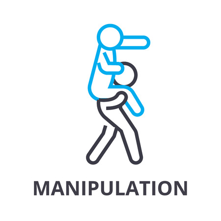 manipulation thin line icon, sign, symbol, illustation, linear concept vector