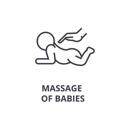 massage of babies thin line icon, sign, symbol, illustation, linear concept vector Foto de archivo - 100104411
