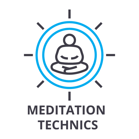 meditation technics thin line icon, sign, symbol, illustation, linear concept vector