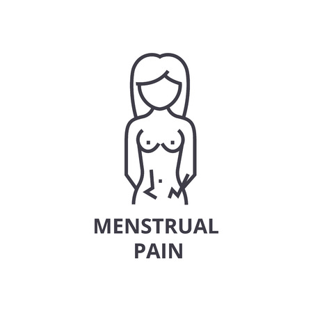 menstrual pain thin line icon, sign, symbol, illustation, linear concept vector