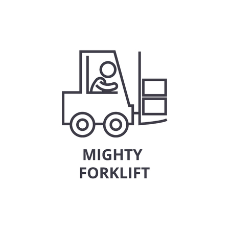 mighty forklift thin line icon, sign, symbol, illustation, linear concept vector  Illustration