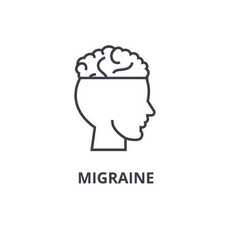 migraine thin line icon, sign, symbol, illustation, linear concept vector