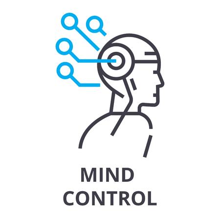 mind control thin line icon, sign, symbol, illustation, linear concept vector