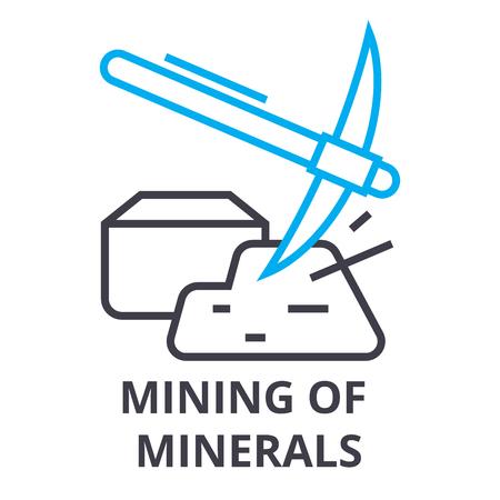 mining of minerals thin line icon, sign, symbol, illustation, linear concept vector