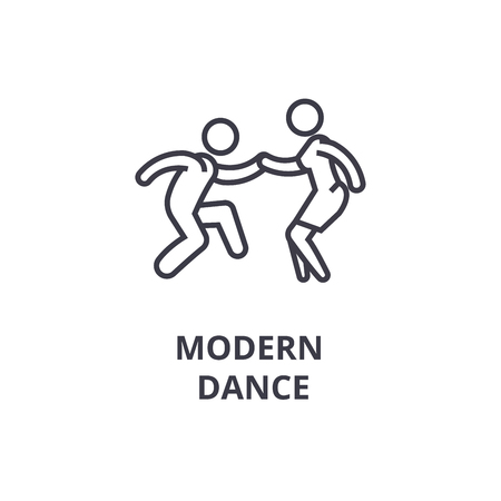 modern dance thin line icon, sign, symbol, illustation, linear concept vector