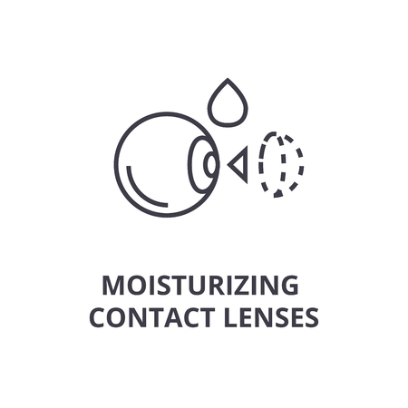moisturizing contact lenses thin line icon, sign, symbol, illustation, linear concept vector