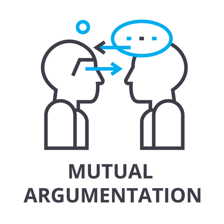 mutual argumentation thin line icon, sign, symbol, illustation, linear concept vector