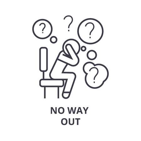 no way out thin line icon, sign, symbol, illustation, linear concept vector