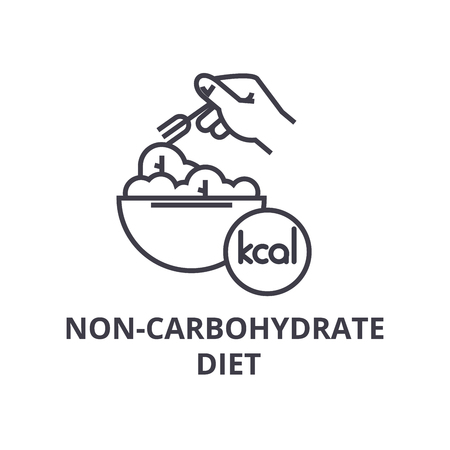 non carbohydrate diet thin line icon, sign, symbol, illustation, linear concept vector  Ilustrace