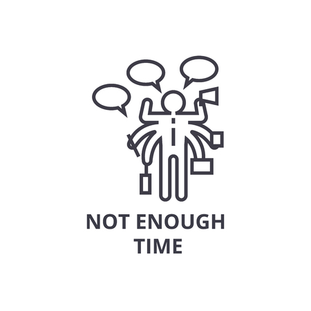 not enough time thin line icon, sign, symbol, illustation, linear concept vector