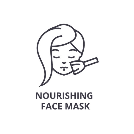 nourishing face mask thin line icon, sign, symbol, illustation, linear concept vector