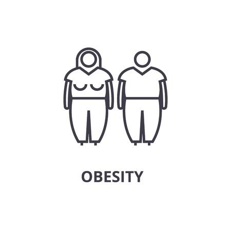 obesity thin line icon, sign, symbol, illustation, linear concept vector