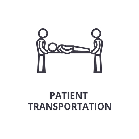 patient transportation thin line icon, sign, symbol, illustation, linear concept vector Vettoriali