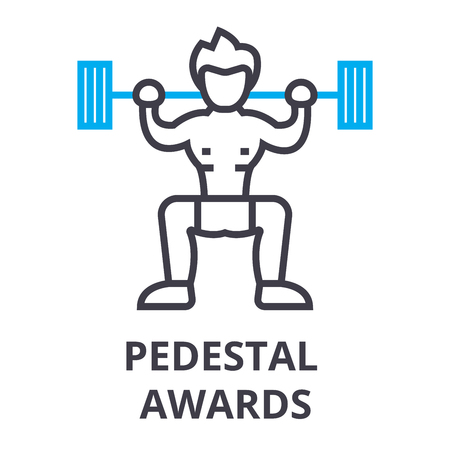 pedestal awards thin line icon, sign, symbol, illustation, linear concept vector  イラスト・ベクター素材