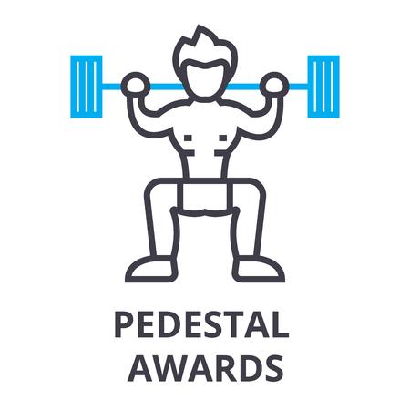 pedestal awards thin line icon, sign, symbol, illustation, linear concept vector Illusztráció