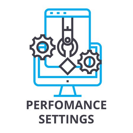 perfomance settings thin line icon, sign, symbol, illustation, linear concept vector