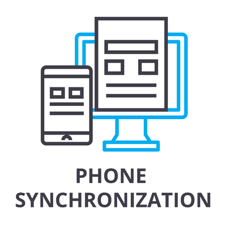phone synchronization thin line icon, sign, symbol, illustation, linear concept vector