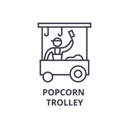popcorn trolley thin line icon, sign, symbol, illustation, linear concept vector