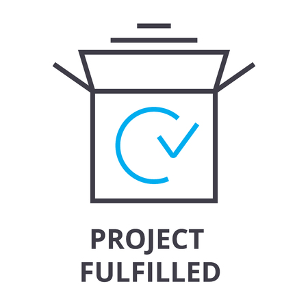 project fulfilled thin line icon, sign, symbol, illustation, linear concept vector