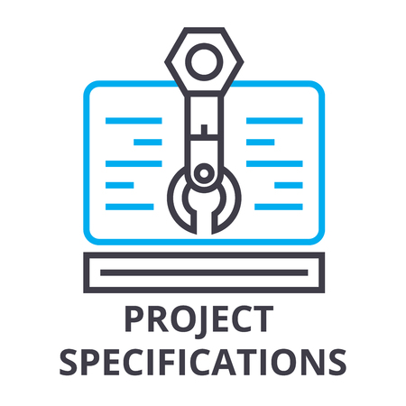 project specifications thin line icon, sign, symbol, illustation, linear concept vector